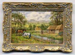Miniature painting 0124 Country Scene with 2 Horses, Barn & Hay Cart