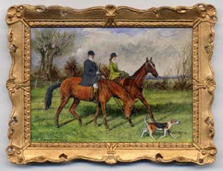 miniature painting 0148 Couple Horseriding with their Dog