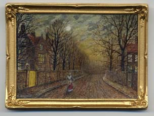 Miniature painting 0155 Lady on a Moonlit Road in the style of Atkinson Grimshaw