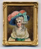 miniature painting 0160 Lady with Blue Hat and Pink Feather