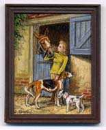 miniature painting 0162 Young Lady with 2 Dogs and her Horse