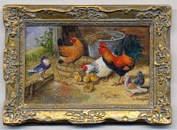 miniature painting 0168 Farmyard scene with Rooster, Hens and Pigeons