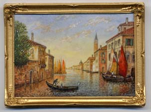 Miniature painting 0171 Large Venetian Scene with Gondola and Sailboats