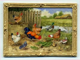 miniature painting 0190 Farmyard scene with Chickens Ducks and Pigeons
