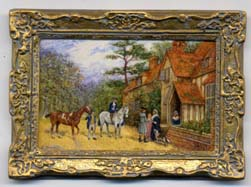 Miniature painting 0191 Scene Outside a Manor House