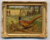 Miniature painting 0213 Country Scene with a Pair of Pheasants