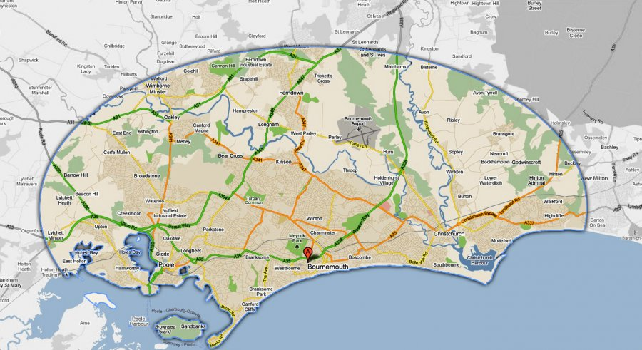 Mike Stokes map image showing working area of mobile tyre fitting service