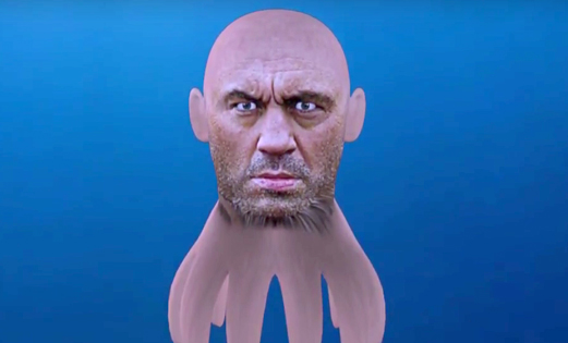 Cowboy, Dana White, and the head of Joe Rogan as a squid.