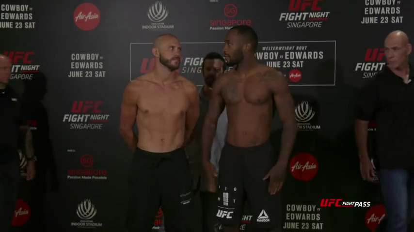 Fight Night Singapore: Weigh-in Faceoffs and results. Cowboy vs Edwards.