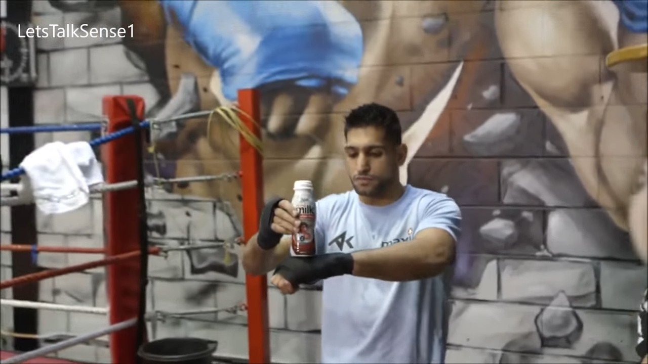 Wait a minute. Is this real? Amir Khan and a bottle blow minds