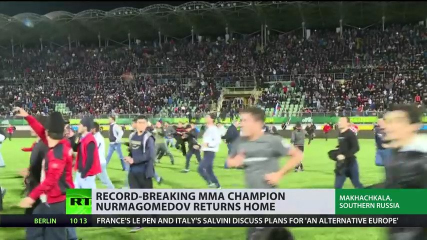 Khabib returned home to a stadium filled with adoring fans