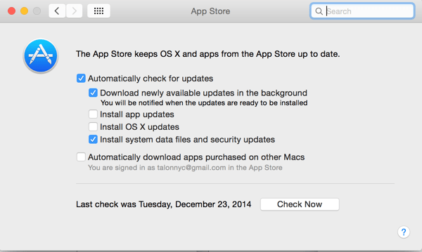 Screenshot of the App Store preferences