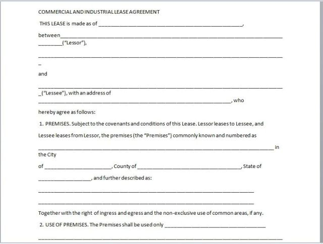 Commercial Lease Agreement Template 01