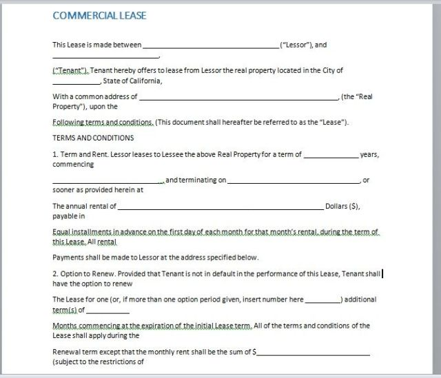 Commercial Lease Agreement Template 03