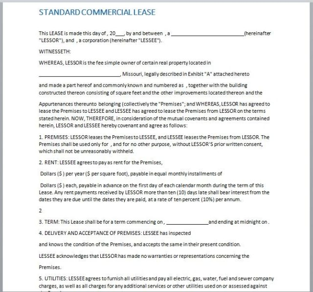 Commercial Lease Agreement Template 06