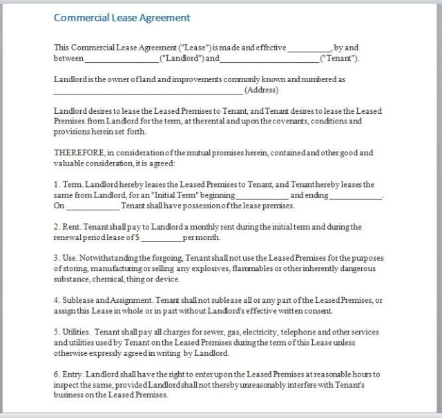 Commercial Lease Agreement Template 16