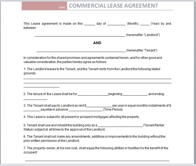 Commercial Lease Agreement Template 23