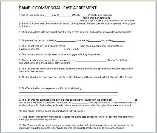 Commercial Lease Agreement Template 25