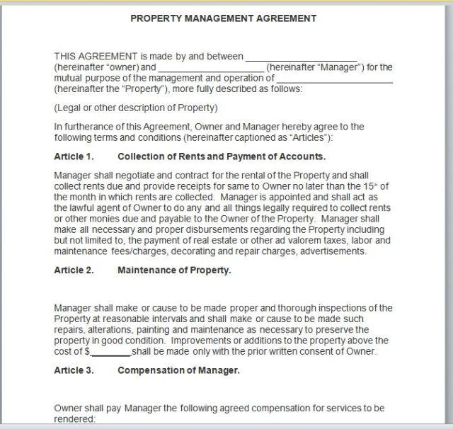 Property Management Agreement 09