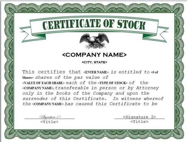 Stock Certificate Template
