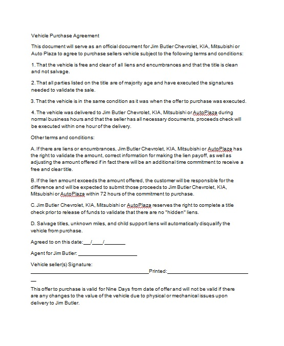 Vehicle Purchase Agreement Template 05