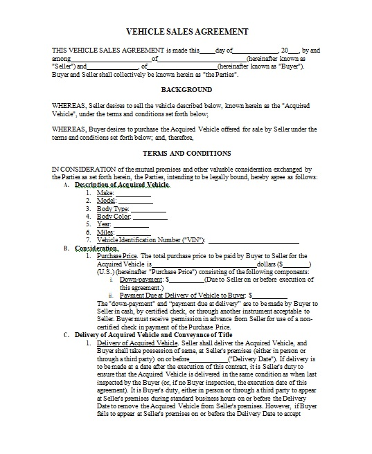 Vehicle Purchase Agreement Template 01