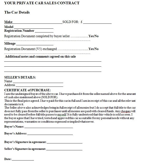 Vehicle Purchase Agreement Template 12