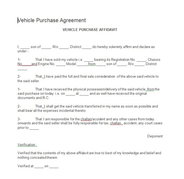 Vehicle Purchase Agreement Template 15