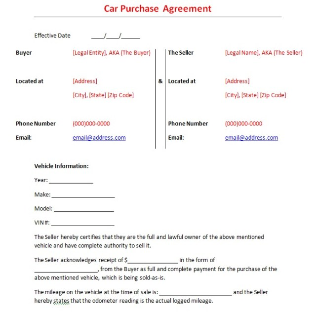 Vehicle Purchase Agreement Template 22