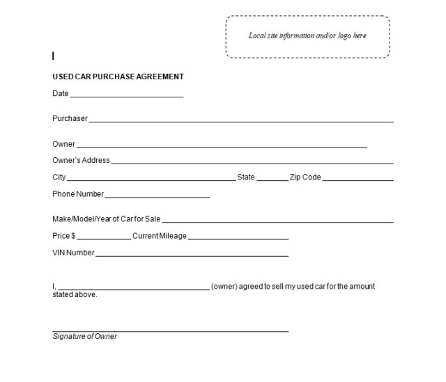 Vehicle Purchase Agreement Template 25