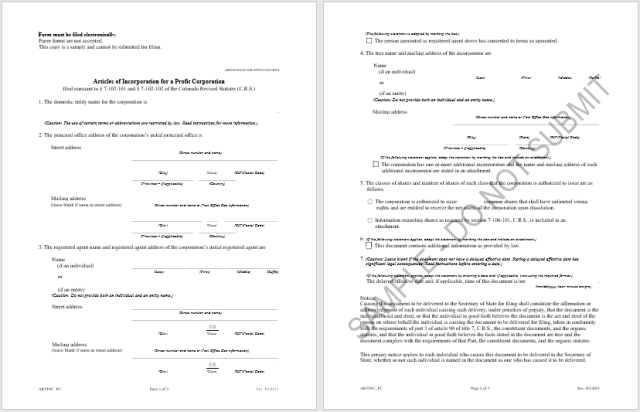 articles of incorporation template 20