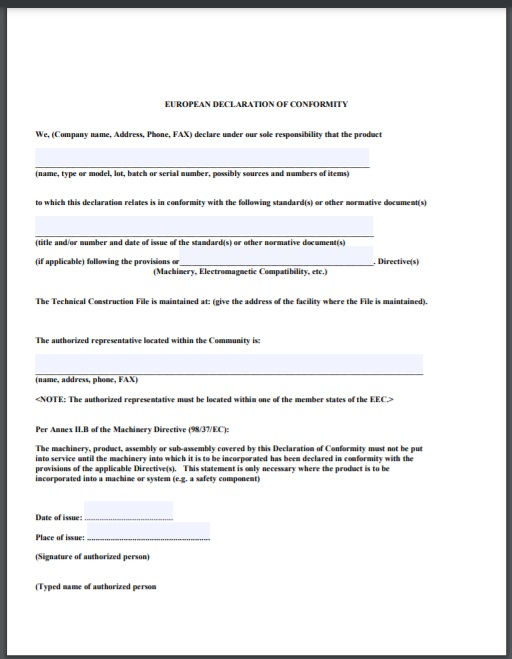 certificate of conformity Template 15