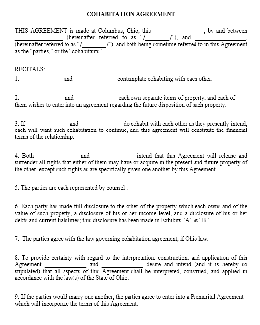 cohabitation agreement template 15.