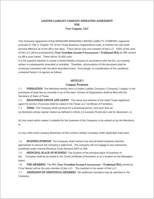 llc operating agreement template 06