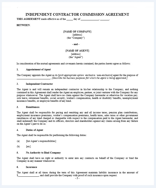 Commission agreement template 03