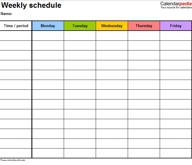Daily Work Schedule Templates 10.