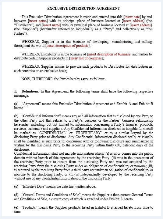 Distribution agreement template 03..