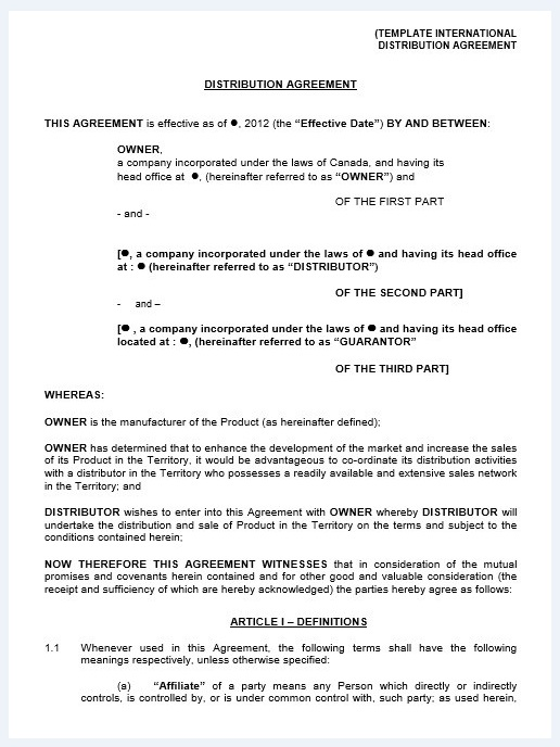Distribution agreement template 04..