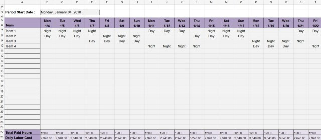 Dupont schedule Template 05