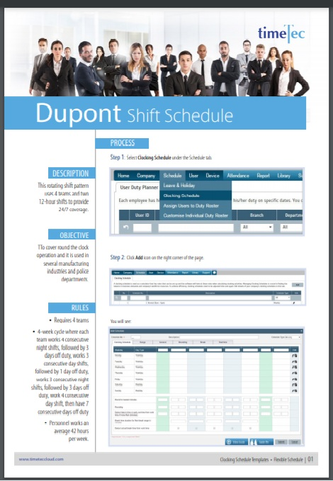 Dupont schedule Template 13