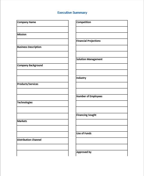 Executive Summary Template 09