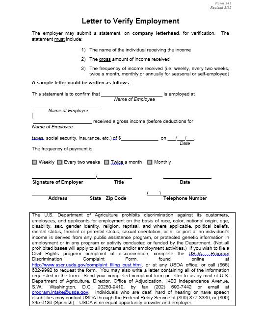 Income Verification Letter Sample 03