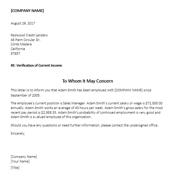 Income Verification Letter Sample 08