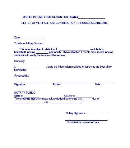 Income Verification Letter Sample 13