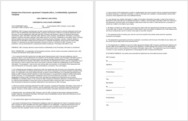 Non Disclosure Agreement Template 06
