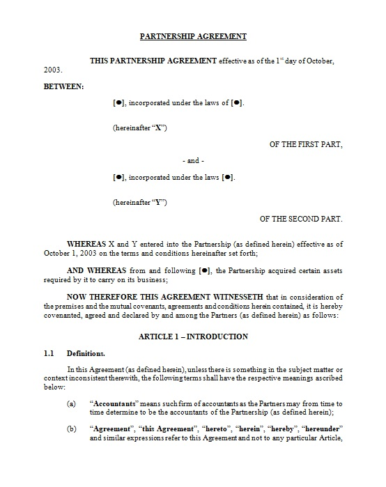 Partnership Agreement Template 01
