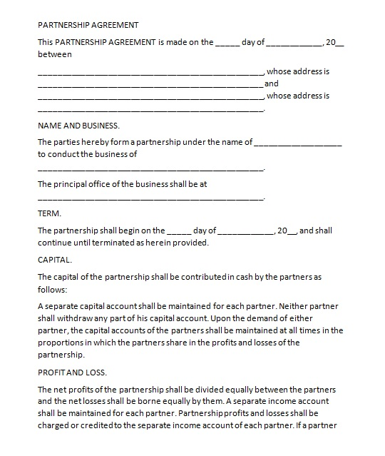 Partnership Agreement Template 08