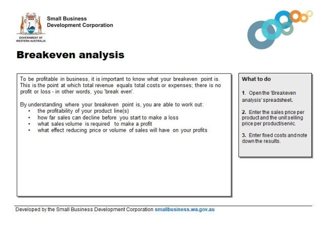 break even analysis template 11