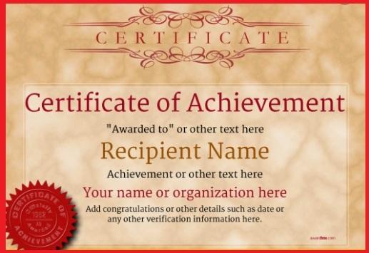 certificate of achievement template 06