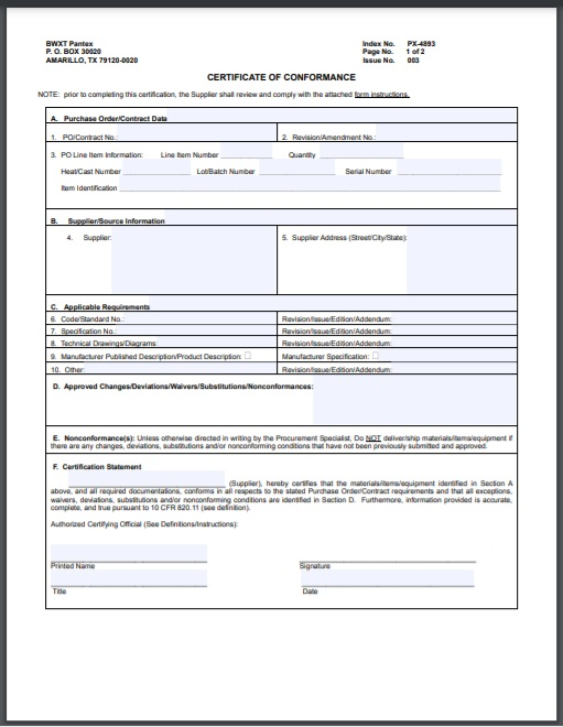certificate of conformity Template 02